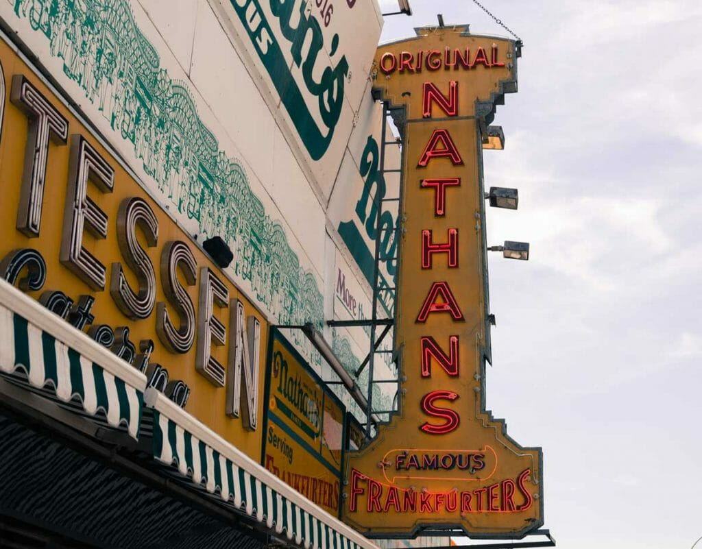 The iconic Nathan's Hotdogs at Coney Island