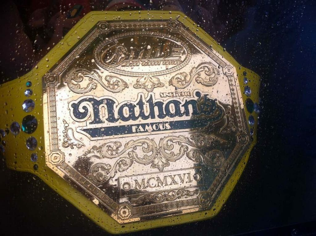 Competitive eaters vie to win the acclaimed Nathan's Famous Hotdogs belt.
