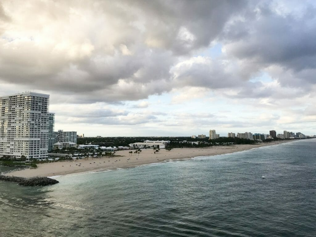 Your view from the deck of the Royal Caribbean Majesty of the Sea as you leave Fort Lauderdale, Florida