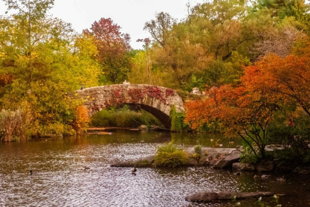 The Gapstow Bridge in Central Park offers a picture perfect snapshot of fall in New York City.