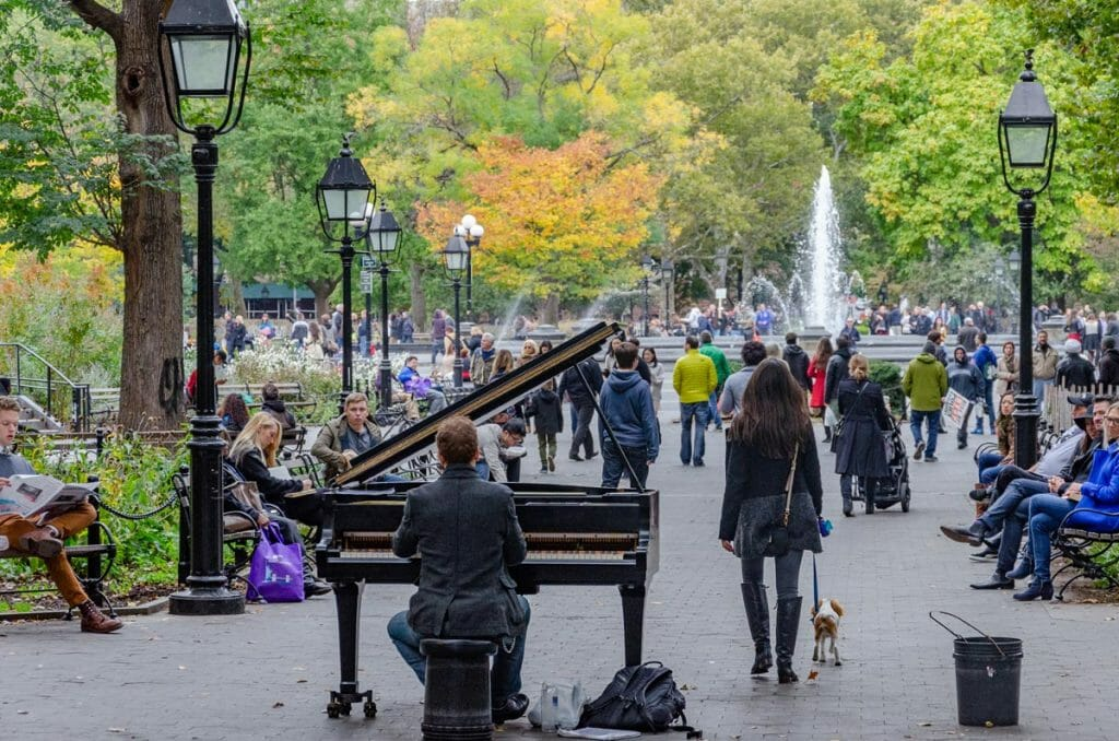 The pianist at Washington Square Park wheels his grand piano to the park most warm days of the year.