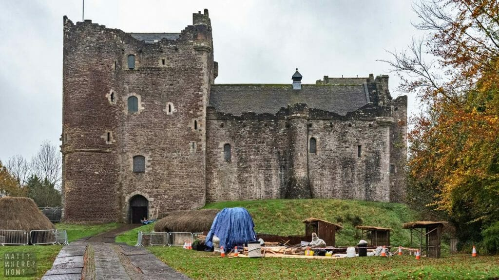 On a search for the Monty Python and the Holy Grail locations we found Doune Castle mid-shoot