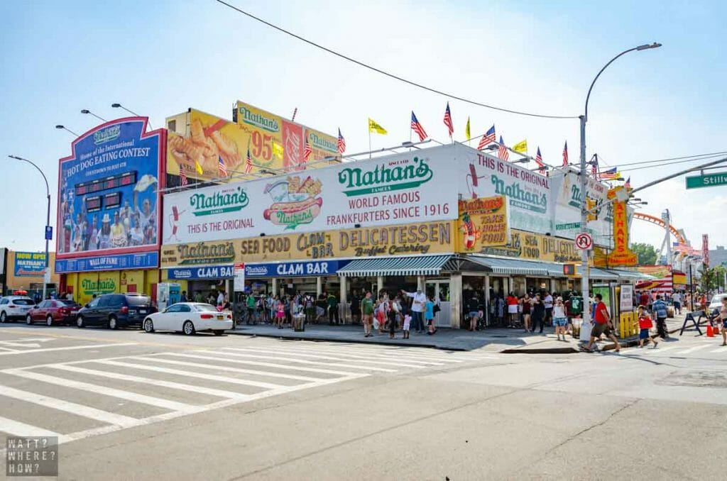 The first site you'll see on the Coney Island boardwalk is Nathan's Famous Hotdogs